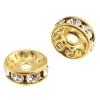 Rhinestone Rondelle (Flat Round) 10mm Gold/ Crystal